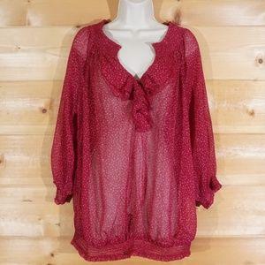 Sheer Dot Pattern Maternity Pullover Blouse XL